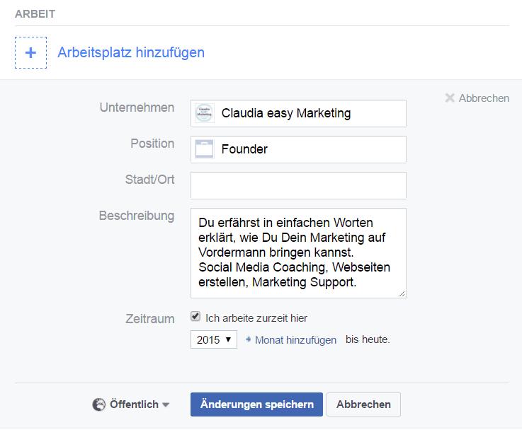 facebook profil info