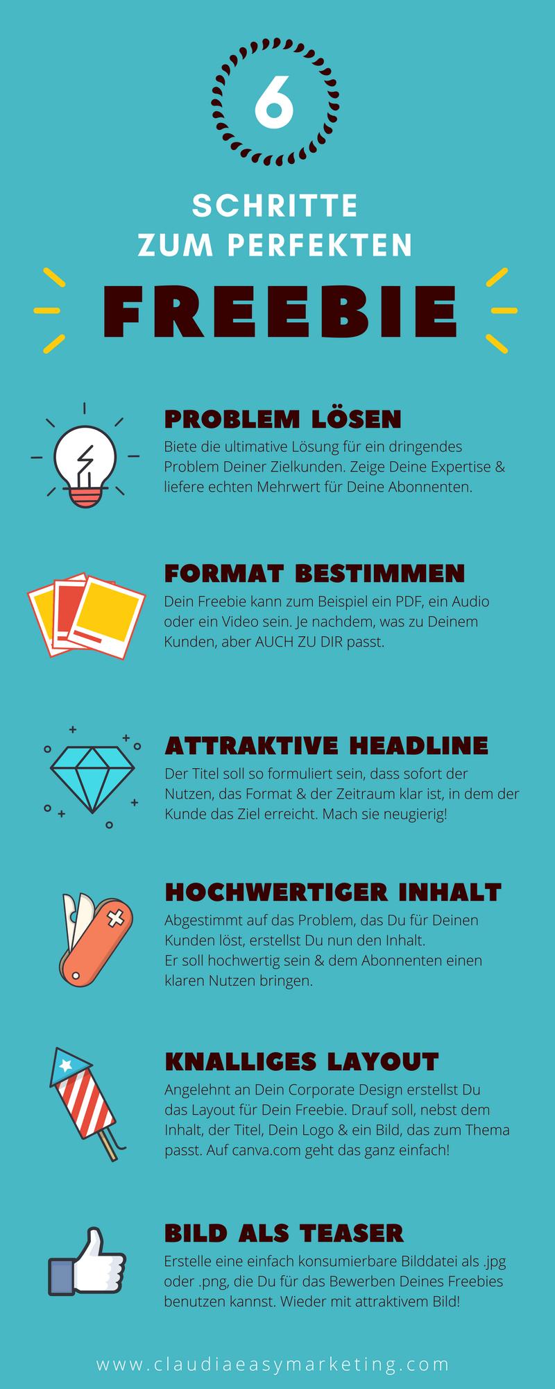 6 Schritte zum perfekten Freebie - Infografik