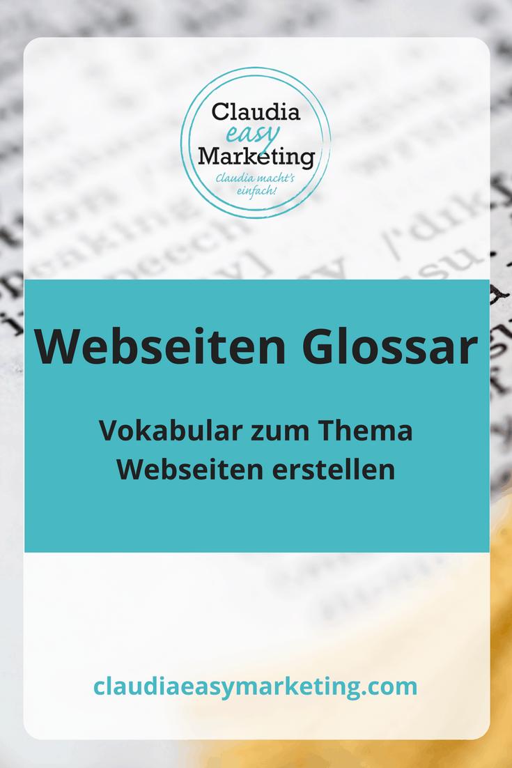 Webdesign mit WordPress einfach erklärt. Vokabular zum Thema Webseiten erstellen.