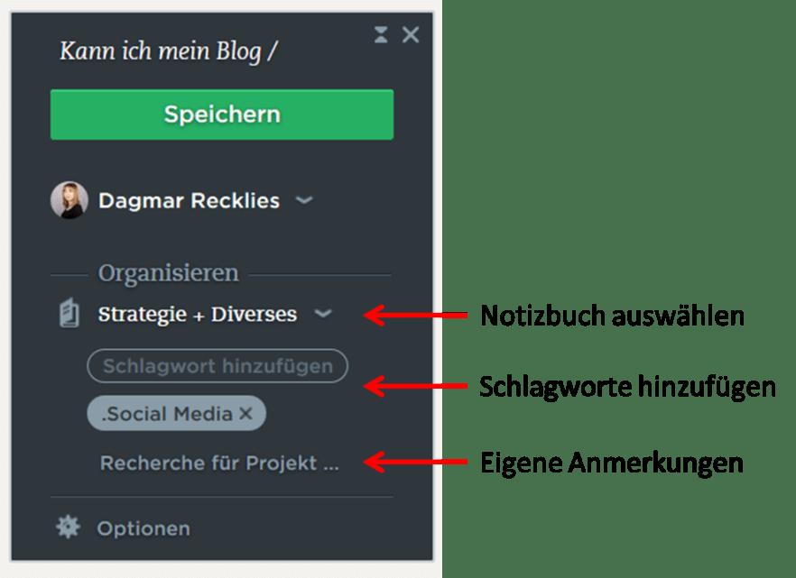 Evernote Webclipper benutzen