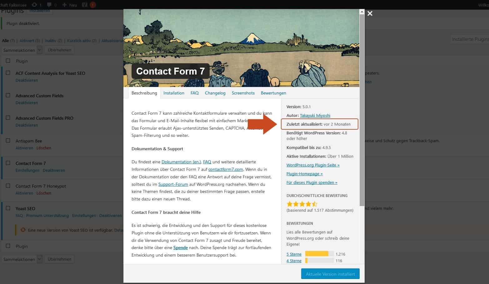 Contact form 7 installieren