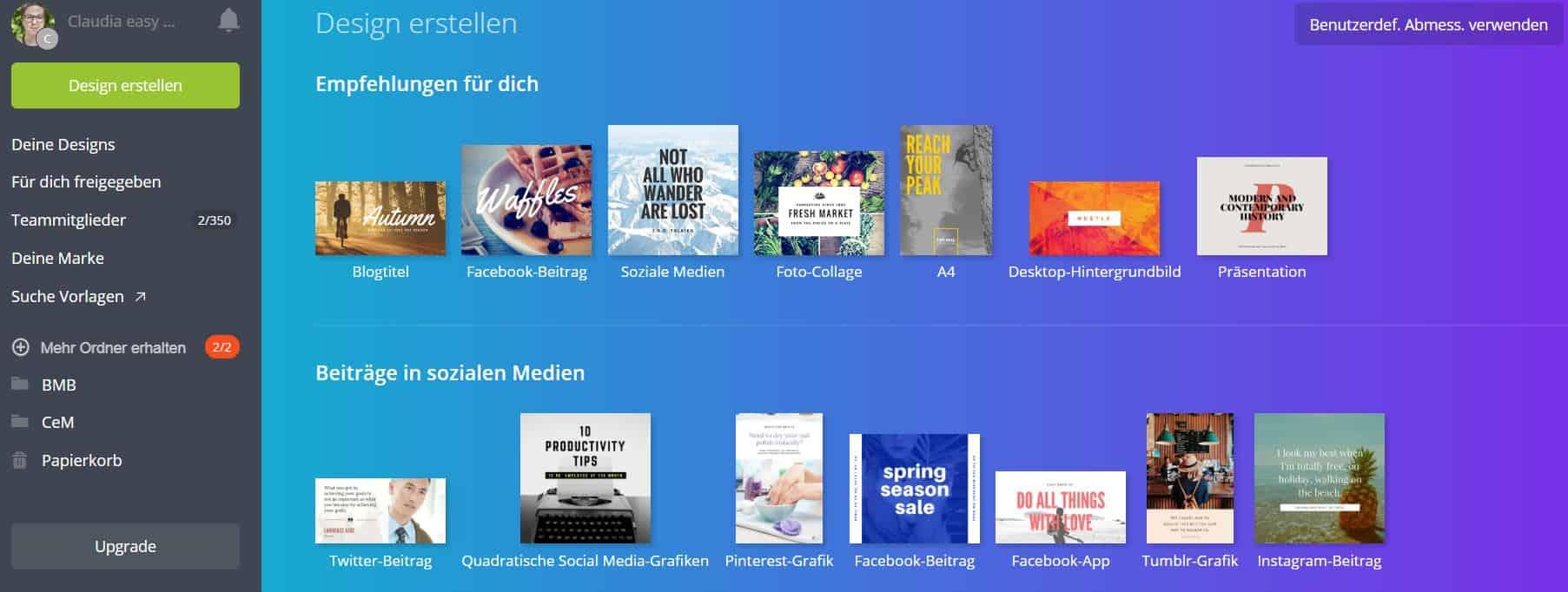 Canva Anleitung - Design wählen