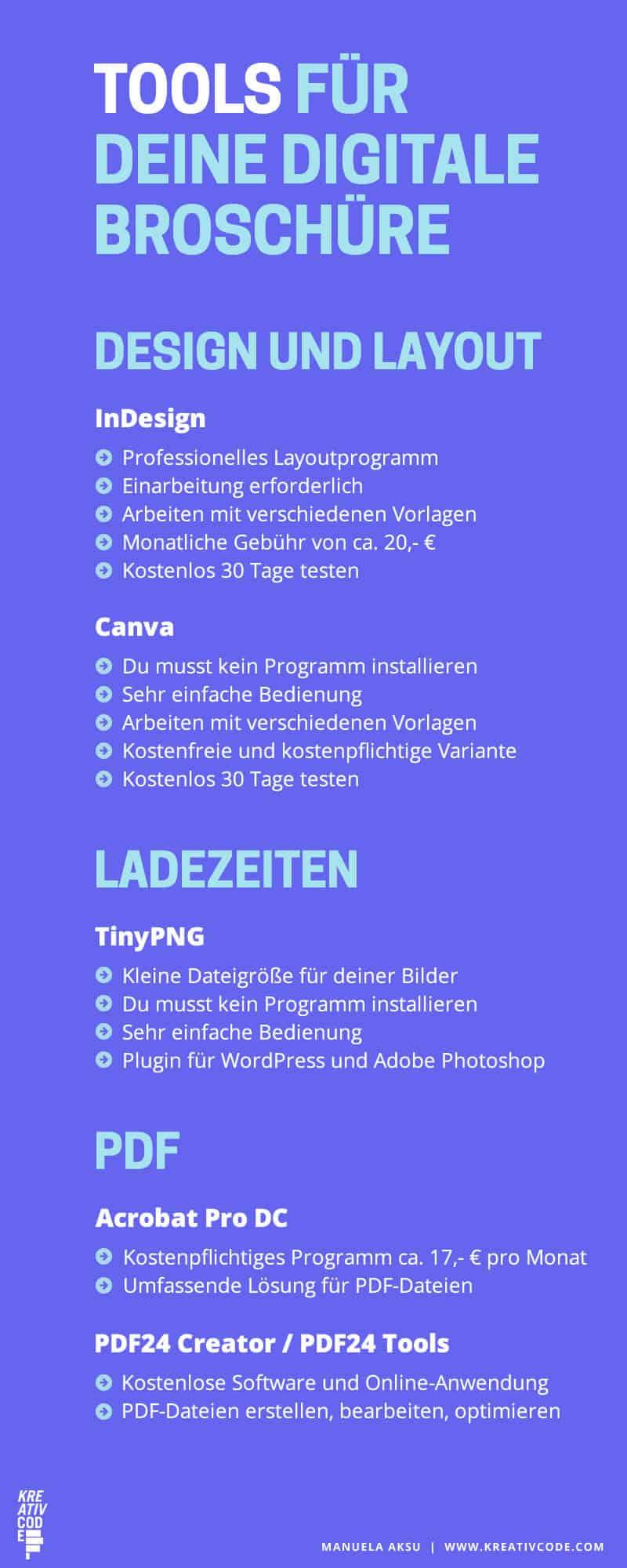 Infografik Online Tools - Online Broschüre erstellen